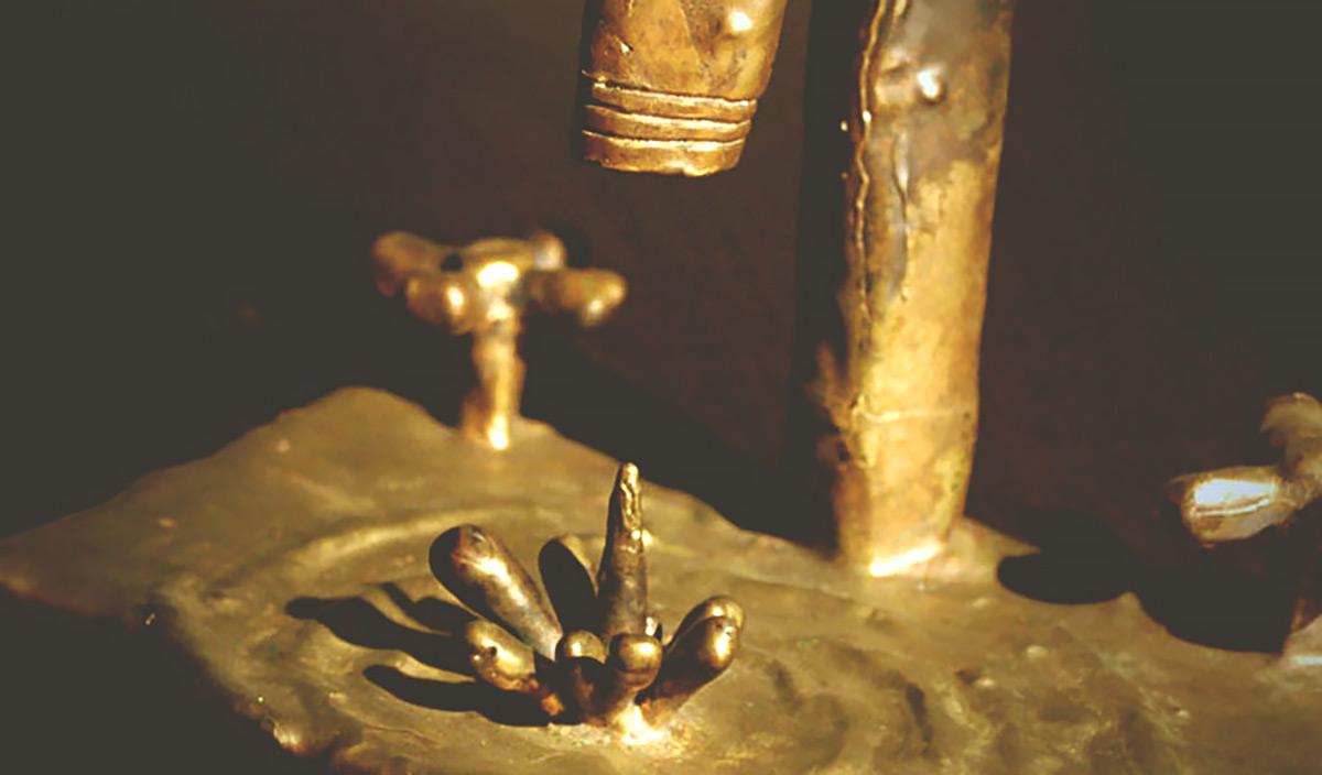 Drip bronze sculpture Jono Schaferkotter artist