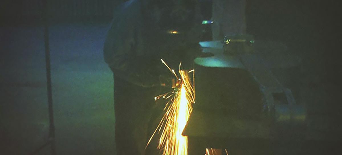 Metal Bass sculpture welding Jono Schaferkotter artist